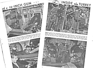 1943 INSIDE THE BATTLESHIP TURRET - WWII Mag. Article (Image1)