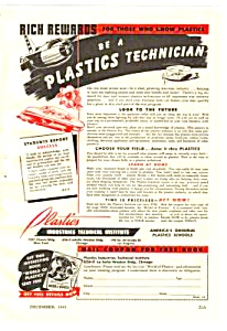 1943 LEARN TO BE A PLASTICS TECHNICIAN at Home Mag. Ad (Image1)