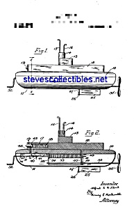 Patent Art: 1920s A.C. Gilbert TOY SUBMARINE (Image1)