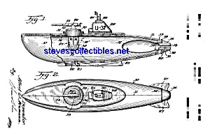 Patent Art: 1950s TOY SUBMARINE - matted (Image1)