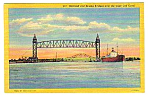 1954 Railroad & Bourne Bridges Cape Cod Linen Postcard