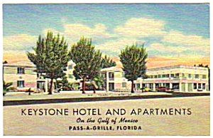 1950s KEYSTONE HOTEL Pass-A-Grille Florida Postcard (Image1)