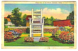 1939 CHAIR CITY Gardner Massachusetts Postcard (Image1)