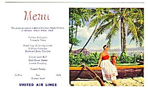 1950s United Airlines Menu Postcard