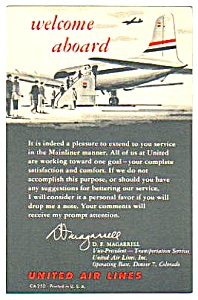 1950s United Airlines Welcome Aboard Card