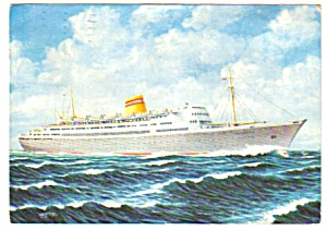 1960 Norwegian America Line M/S BERGENSFJORD Postcard (Image1)