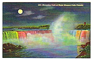 1950 Horseshoe Falls at Night, Niagara, Canada Postcard (Image1)