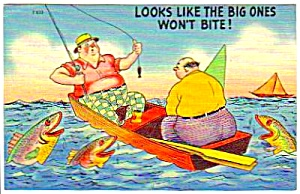 1950s FISHING THEME Linen Humor POSTCARD (Image1)