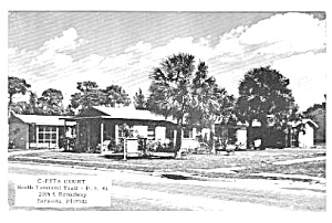 1950s C-esta Court On Rte 41 Sarasota Fla Postcard