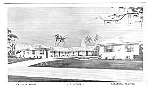 1950s LA LINDA MOTEL ON RTE 41 Sarasota Fla Postcard (Image1)