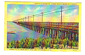 1949 Hampton River Bridge New Hampshire Linen Postcard