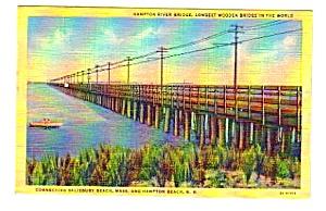 1949 HAMPTON RIVER BRIDGE New Hampshire Linen Postcard (Image1)