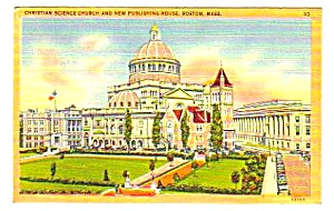 1949 Christian Science Church Boston, Ma Linen Postcard