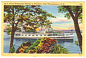 1949 Boat Mount Washington New Hampshire Linen Postcard