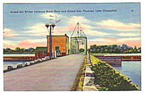1951 Grand Isle Bridge Vermont Linen Postcard