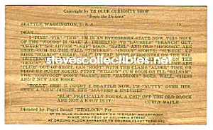 1952 State of Washington EVERGREEN WOODEN Postcard (Image1)