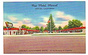 1950s New MOTEL MERCED, Merced, California Postcard (Image1)