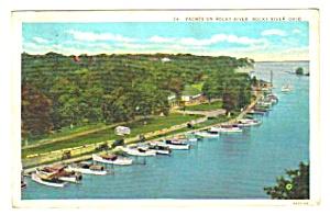 1932 YACHTS ON ROCKY RIVER, Ohio Postcard (Image1)