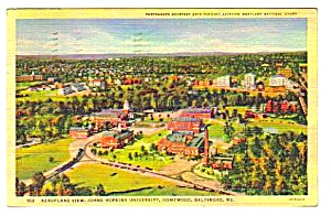 1941 Johns Hopkins University Aerial View Postcard