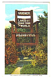 1936 CHAIR CITY Gardner Massachusetts Postcard (Image1)