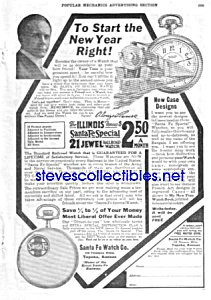1920 Santa Fe Illinois Pocket Watch Ad