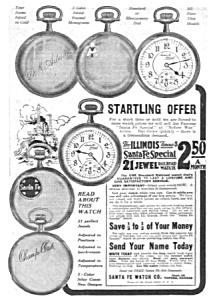 1918 Santa Fe Illinois Pocket Watch Ad