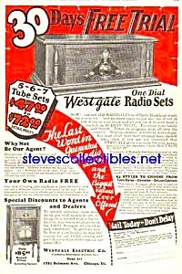 1927 WESTGALE WOODEN RADIO Mag. Ad (Image1)