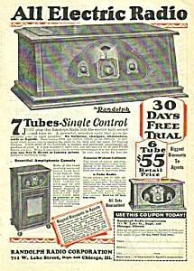 1927 RANDOLPH 7 Tube RADIO Magazine Ad (Image1)