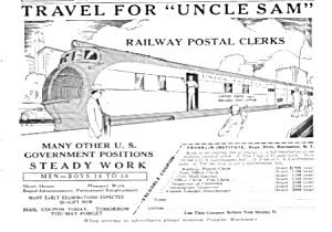 1935 RAILWAY - Railroad POSTAL CLERK Ad (Image1)