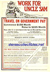 1926 RAILWAY - Railroad POSTAL CLERK Ad (Image1)