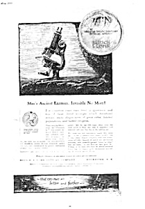 1920 Bausch And Lomb Microscopes Magazine Ad