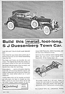 1965 Hubley Metal Duesenberg Town Car Toy Ad