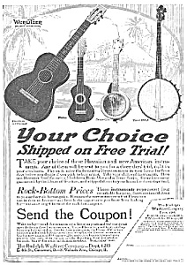 1918 Guitar, Banjo, Ukelele Music Room Ad
