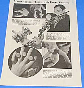 1939 Master Violinist Finger Training Mag. Article