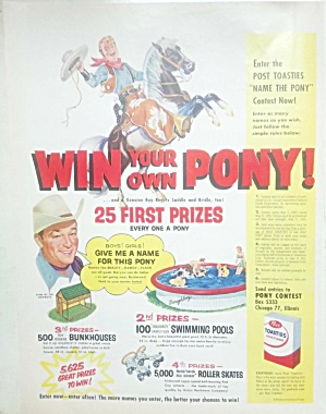 1955 Roy Rogers Post Toasties Cereal