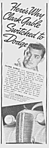 1937 CLARK GABLE Dodge Automobile Ad (Image1)