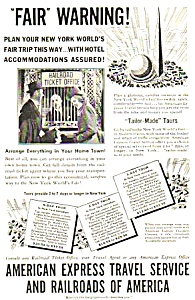 1939 Ny Worlds Fair American Express/railroad Mag. Ad