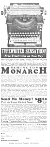 1923 Remington Monarch Typewriter Mag. Ad
