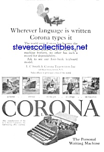 1926 Corona Portable Typewriter Ad