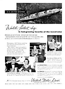 1956 U.S. Lines OCEAN LINER Mag. Ad (Image1)