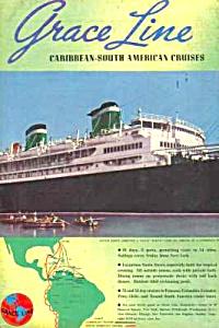 1939 GRACE LINE Santa Ocean Liner Color Mag. Ad (Image1)