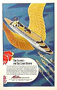 1950s Matson Ocean Liner To Hawaii Ad