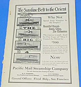 1914 PACIFIC MAIL STEAMSHIP Ocean Liner Ad (Image1)