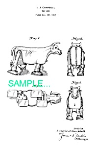 Patent Art: 1950s Milking Cow RAMP WALKER TOY - matted (Image1)