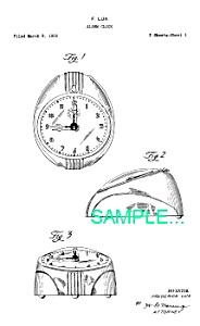 Patent Art: 1950s Lux Art Deco ALARM CLOCK - Matted (Image1)