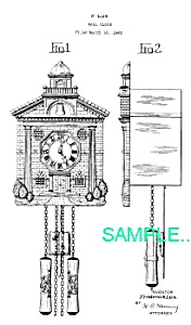 Patent Art: 1940s Lux TOWN HALL NOVELTY CLOCK - Matted (Image1)