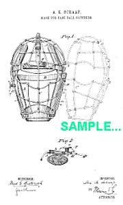 Patent Art: 1880s BASEBALL CATCHERS MASK - matted (Image1)