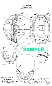 Patent Art: 1890s BASEBALL CATCHERS MASK - matted (Image1)