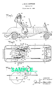 Patent Art: 1930s MARX FIRE Car Windup TOY - matted (Image1)