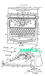 Patent Art: 1940s MARX Toy TYPEWRITER - matted (Image1)